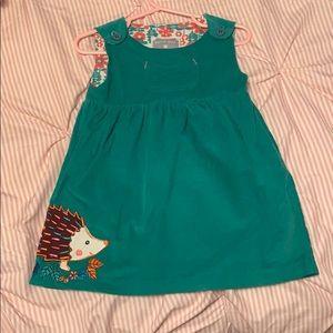 Green corduroy hedgehog dress. Size 12-18 month